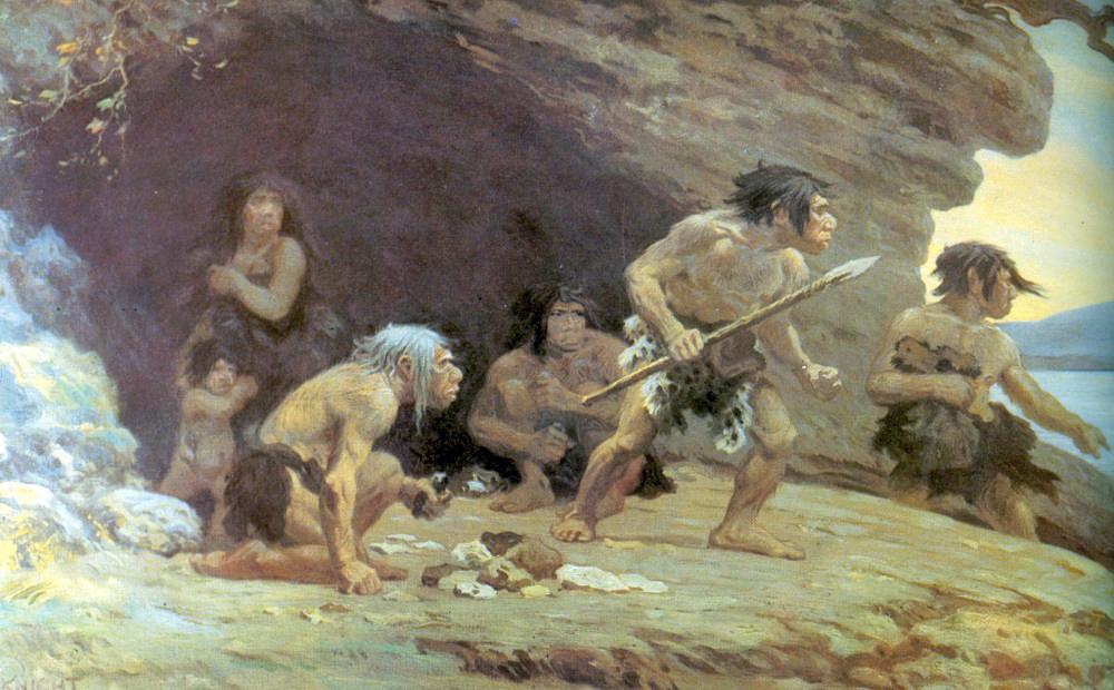 Неандертальцы у пещеры Ле-Мустье