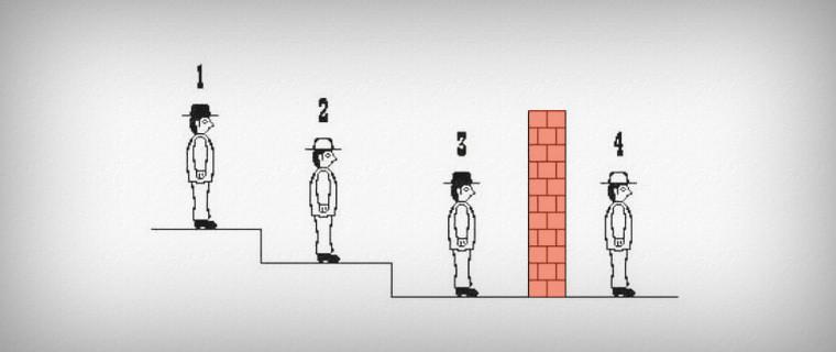 Задача про 4 преступников и 4 шляпы