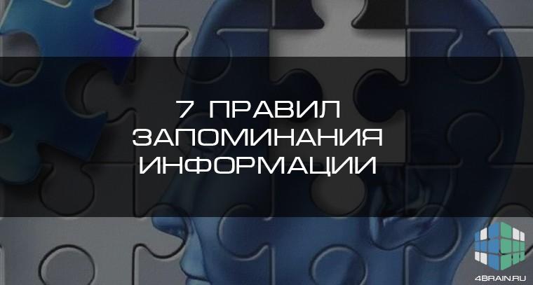 7 правил запоминания информации