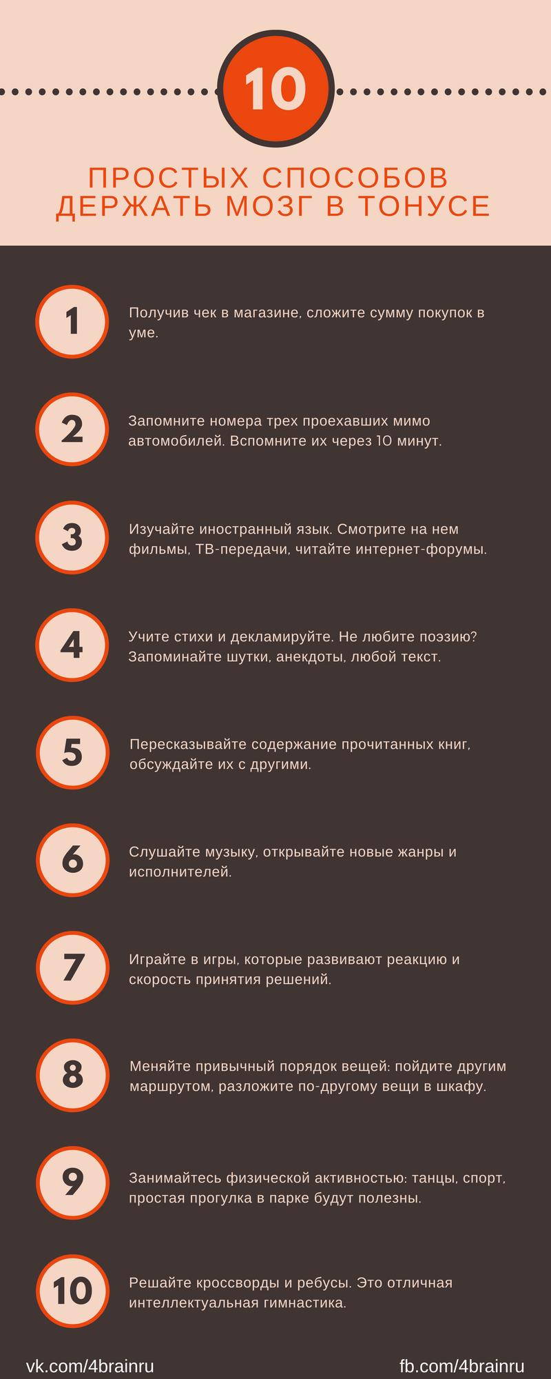 10 простых способов держать мозг в тонусе