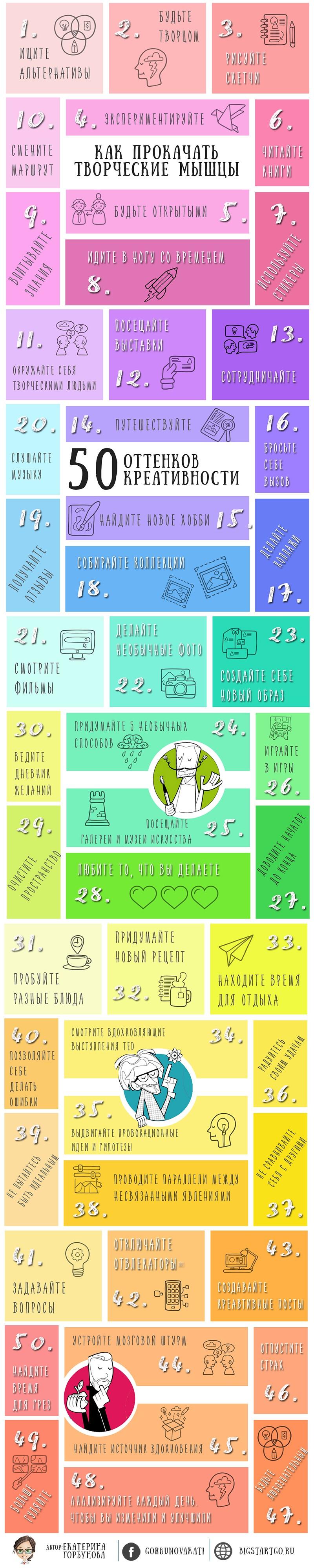 Как прокачать творческие мышцы. 50 оттенков креативности: инфографика