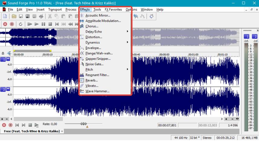 Интерфейс англоязычной программы Sound Forge